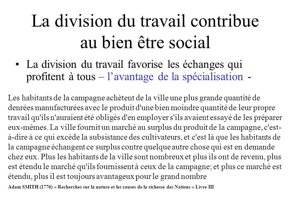 La division du travail contribue au bien être social La division du travail favorise les échanges qui profitent à tous – lavantage de la spécialisatio