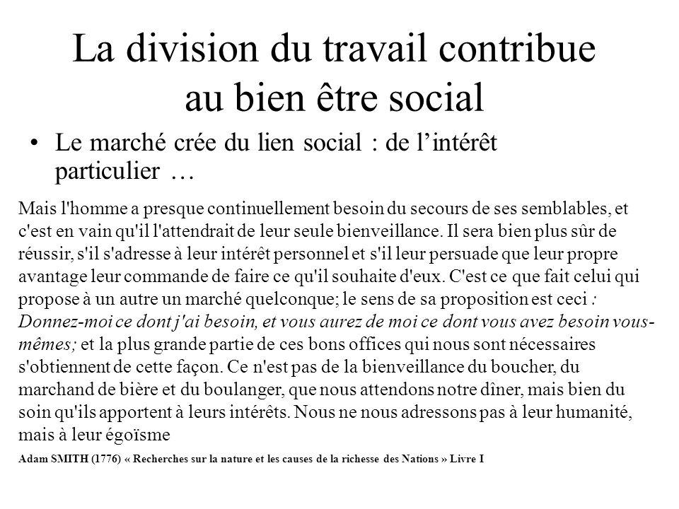 La division du travail contribue au bien être social Le marché crée du lien social : de lintérêt particulier … Mais l'homme a presque continuellement