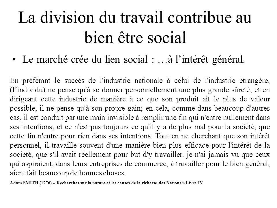 La division du travail contribue au bien être social Le marché crée du lien social : …à lintérêt général. En préférant le succès de l'industrie nation