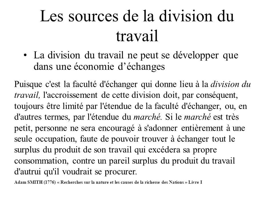 Les sources de la division du travail La division du travail ne peut se développer que dans une économie déchanges Puisque c'est la faculté d'échanger