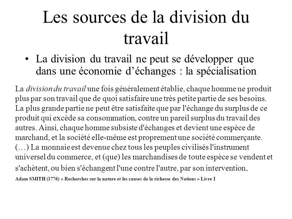 Les sources de la division du travail La division du travail ne peut se développer que dans une économie déchanges : la spécialisation La division du