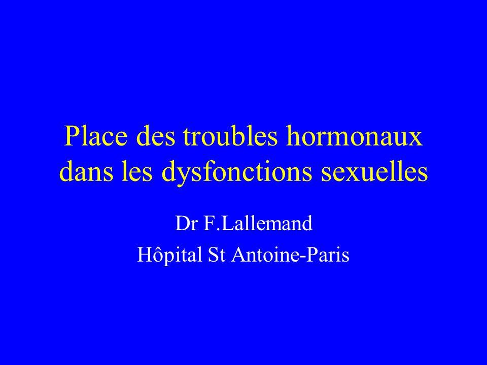 Place des troubles hormonaux dans les dysfonctions sexuelles Dr F.Lallemand Hôpital St Antoine-Paris