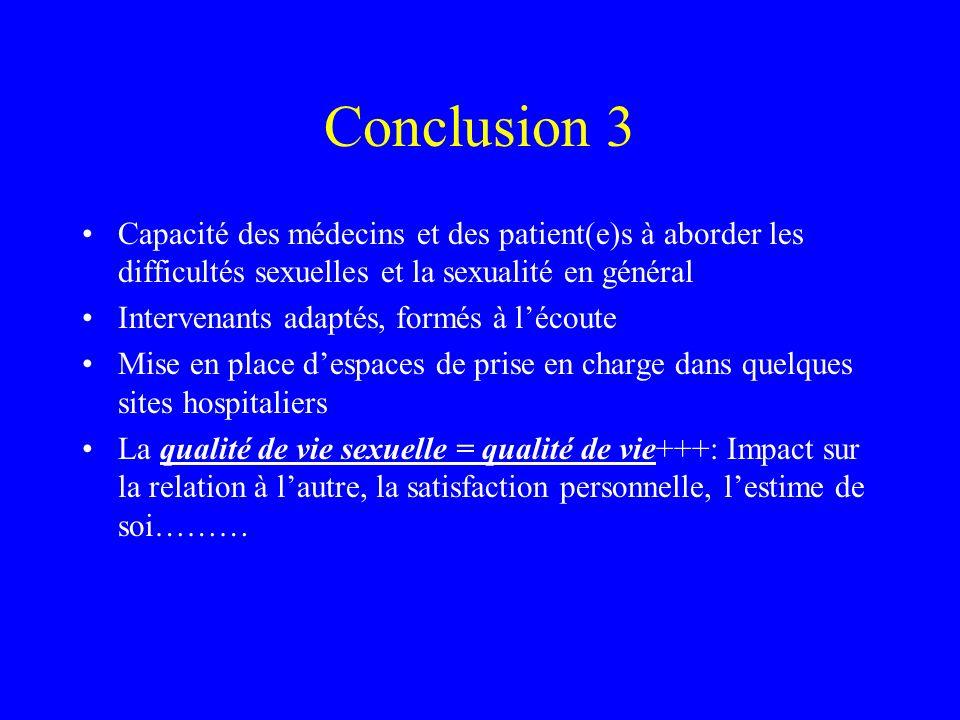 Conclusion 3 Capacité des médecins et des patient(e)s à aborder les difficultés sexuelles et la sexualité en général Intervenants adaptés, formés à lé