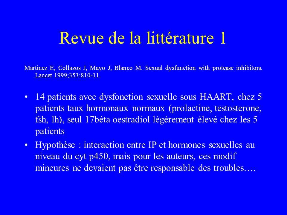 Revue de la littérature 1 Martinez E, Collazos J, Mayo J, Blanco M. Sexual dysfunction with protease inhibitors. Lancet 1999;353:810-11. 14 patients a