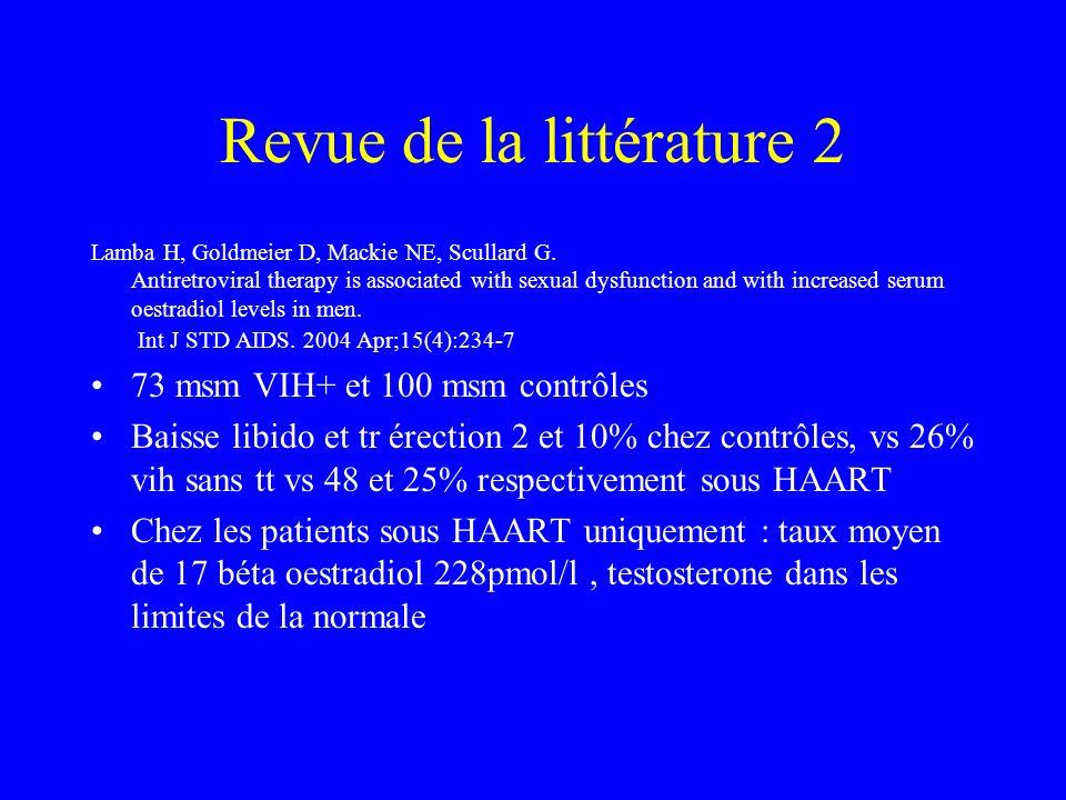 Revue de la littérature 2 Lamba H, Goldmeier D, Mackie NE, Scullard G.