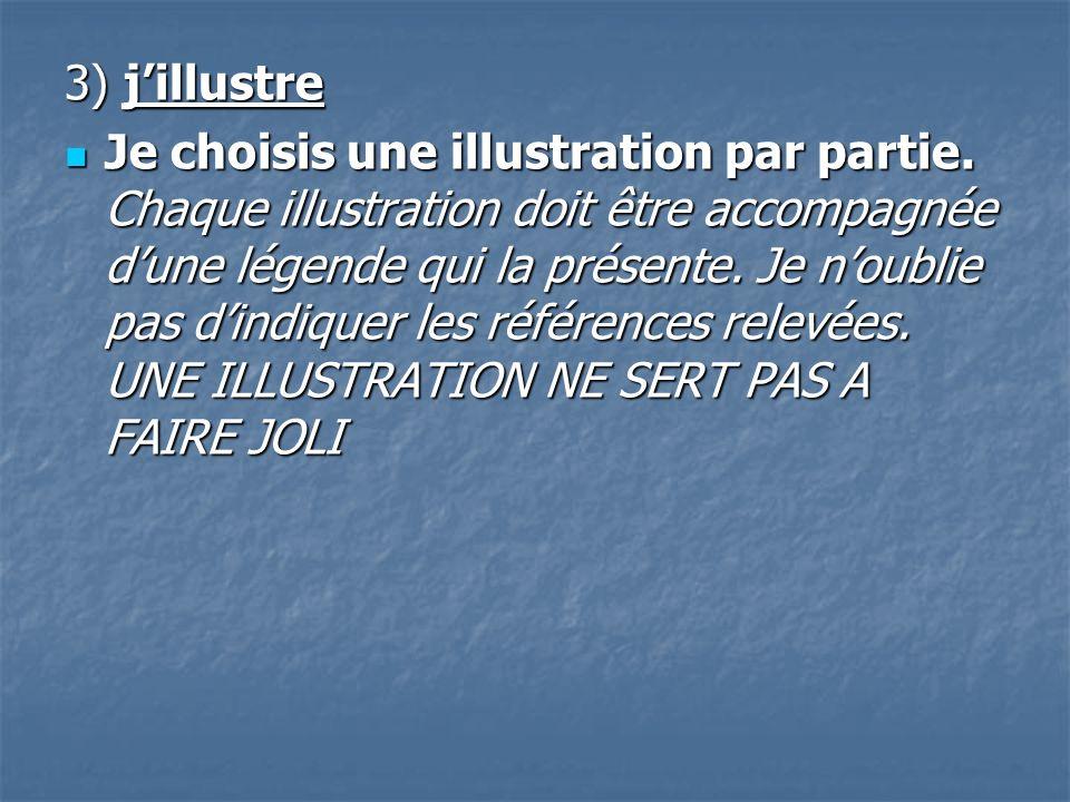 3) jillustre Je choisis une illustration par partie. Chaque illustration doit être accompagnée dune légende qui la présente. Je noublie pas dindiquer