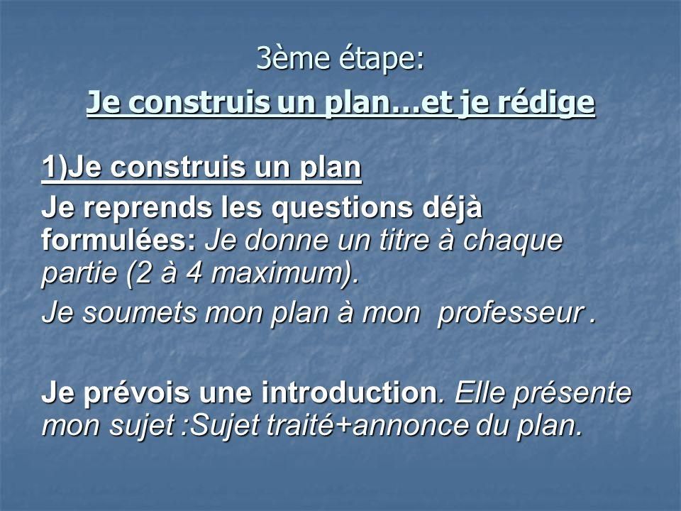 3ème étape: Je construis un plan…et je rédige 1)Je construis un plan Je reprends les questions déjà formulées: Je donne un titre à chaque partie (2 à