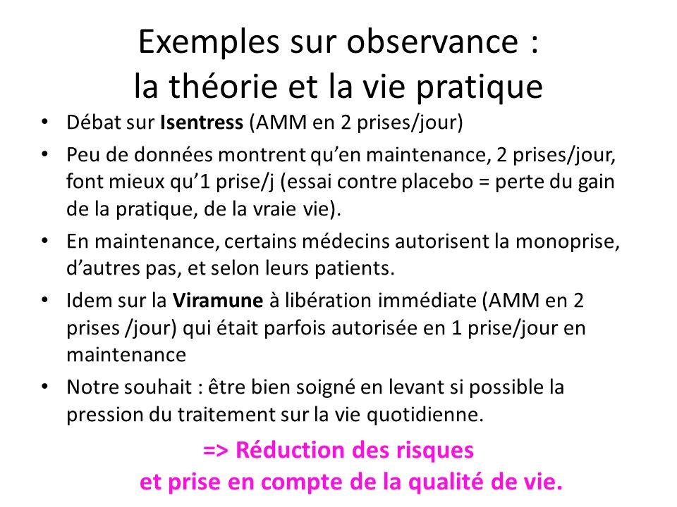 Exemples sur observance : la théorie et la vie pratique Débat sur Isentress (AMM en 2 prises/jour) Peu de données montrent quen maintenance, 2 prises/