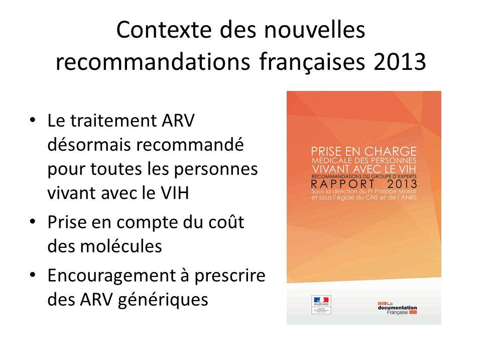 Contexte des nouvelles recommandations françaises 2013 Le traitement ARV désormais recommandé pour toutes les personnes vivant avec le VIH Prise en compte du coût des molécules Encouragement à prescrire des ARV génériques
