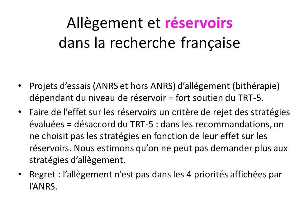 Allègement et réservoirs dans la recherche française Projets dessais (ANRS et hors ANRS) dallégement (bithérapie) dépendant du niveau de réservoir = fort soutien du TRT-5.