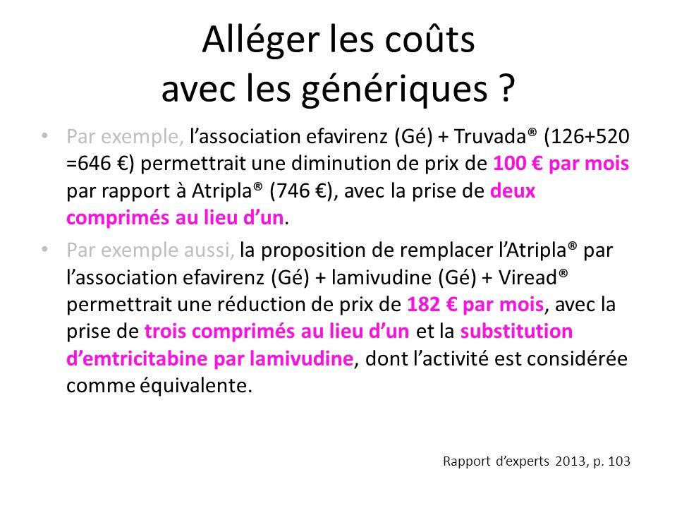 Alléger les coûts avec les génériques ? Par exemple, lassociation efavirenz (Gé) + Truvada® (126+520 =646 ) permettrait une diminution de prix de 100