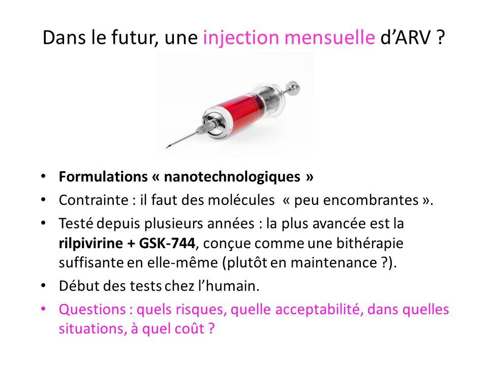 Dans le futur, une injection mensuelle dARV ? Formulations « nanotechnologiques » Contrainte : il faut des molécules « peu encombrantes ». Testé depui