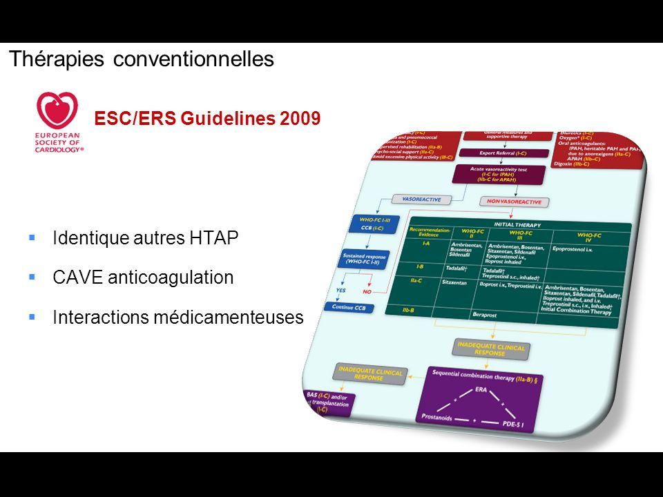 Thérapies conventionnelles ESC/ERS Guidelines 2009 Identique autres HTAP CAVE anticoagulation Interactions médicamenteuses