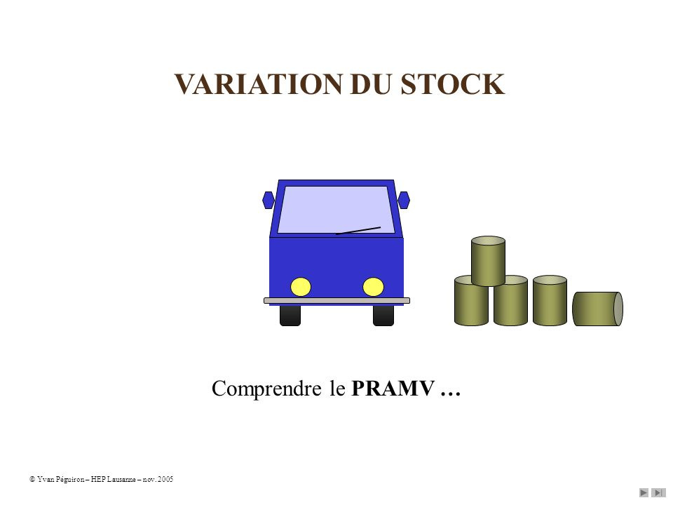 VARIATION DU STOCK Comprendre le PRAMV … © Yvan Péguiron – HEP Lausanne – nov. 2005