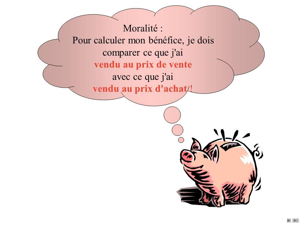 Moralité : Pour calculer mon bénéfice, je dois comparer ce que j'ai vendu au prix de vente avec ce que j'ai vendu au prix d'achat !