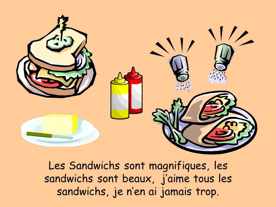 Les Sandwichs sont magnifiques, les sandwichs sont beaux, jaime tous les sandwichs, je nen ai jamais trop.