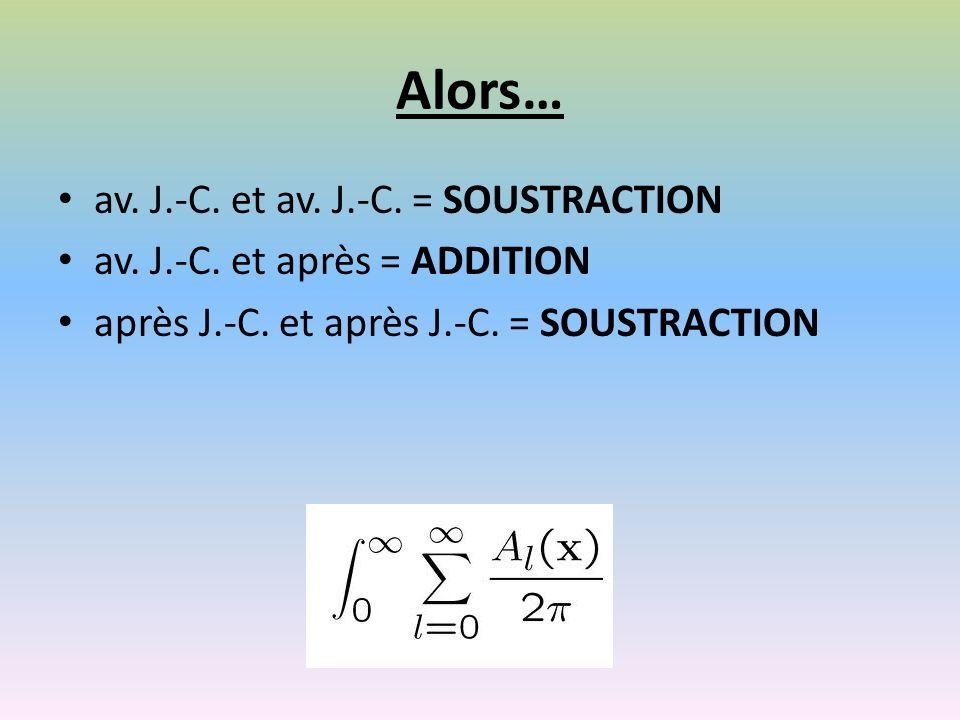 Alors… av. J.-C. et av. J.-C. = SOUSTRACTION av.