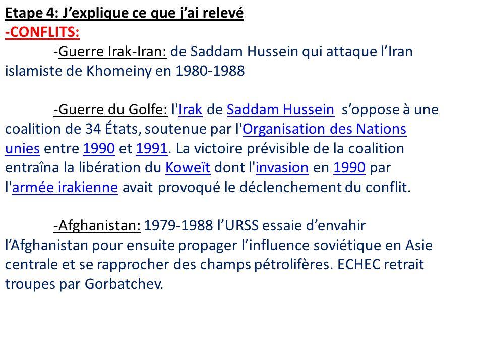 Etape 4: Jexplique ce que jai relevé -CONFLITS: -Guerre Irak-Iran: de Saddam Hussein qui attaque lIran islamiste de Khomeiny en 1980-1988 -Guerre du Golfe: l Irak de Saddam Hussein soppose à une coalition de 34 États, soutenue par l Organisation des Nations unies entre 1990 et 1991.
