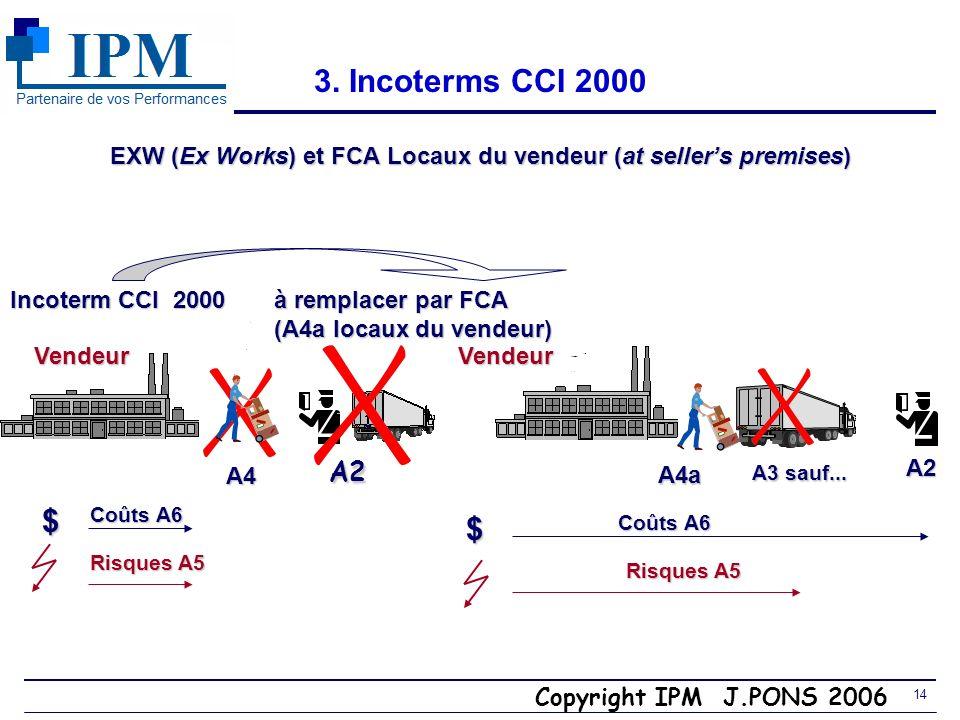 Copyright IPM J.PONS 2006 13 3. Dangers du EXW Le vendeur ne doit pas charger, mais il le fait! -Quid en cas daccident du travail du cariste?. Le vend