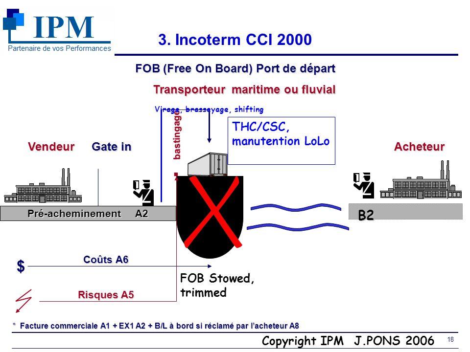 Copyright IPM J.PONS 2006 17 3. Incoterm CCI 2000 FAS (Free Alongside Ship) Port de départ Vendeur $ Acheteur A6 Coûts Transporteurmaritime ou fluvial