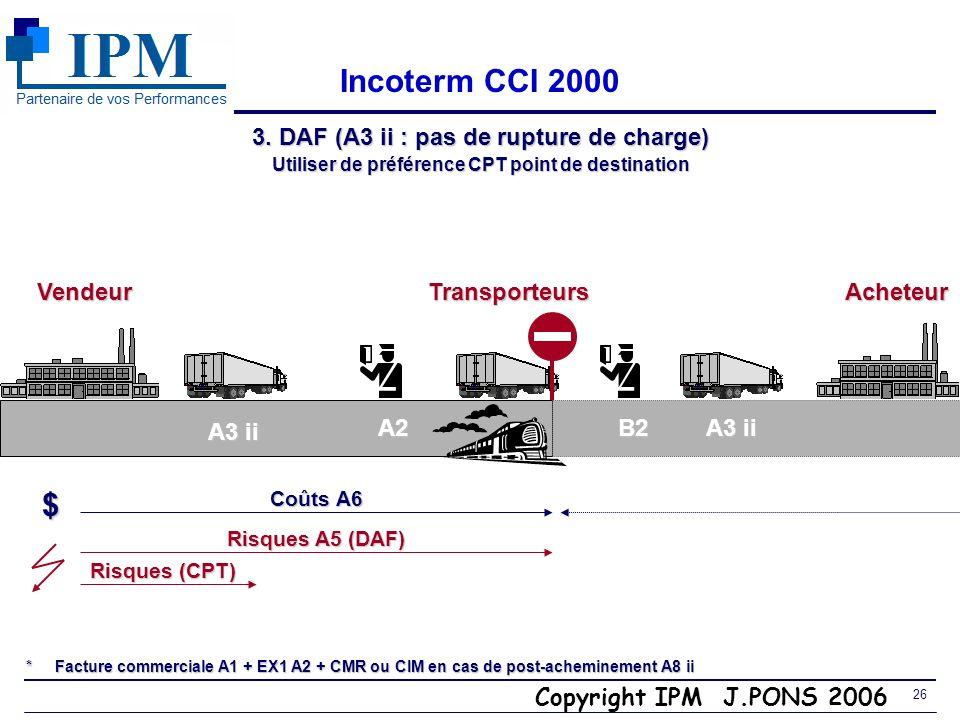 Copyright IPM J.PONS 2006 25 EXW 3. Incoterms vente départ ( E, F, C ) Carrier CY/CFS FCA A4a FCA A4b FAS. FOB CFR/CIF CIF : assurance C/o acheteur CP