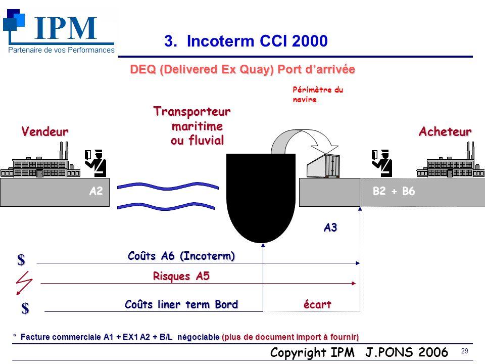 Copyright IPM J.PONS 2006 28 DES (Delivered Ex Ship) Port darrivée 3. Incoterm CCI 2000 Vendeur Transporteur maritime maritime ou fluvial ou fluvial $