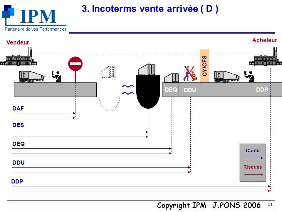 Copyright IPM J.PONS 2006 30 3. Incoterm CCI 2000 Au lieu de DEQ (port) utiliser DDU ou DDP (endroit/lieu) Vendeur Transporteur maritime maritime ou f
