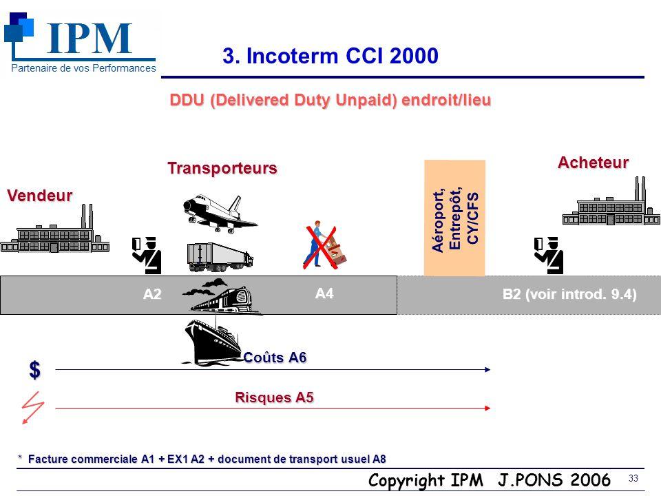 Copyright IPM J.PONS 2006 32 3. Incoterms et chaîne des coûts (terrestre + maritime) FCA A4a (+) Frais FCA A4a (+) Frais de chargement de chargement +