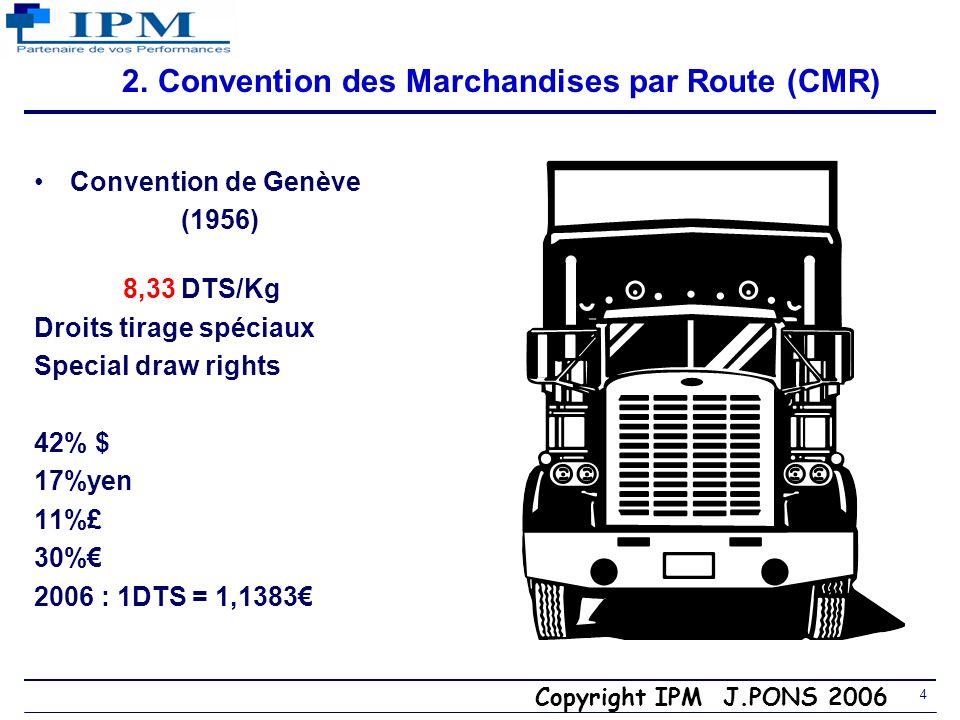 Copyright IPM J.PONS 2006 3 1. Commissionnaires et transitaires Commissionnaire de transport –Législation : art ex 94 à 99 (L 132-1 à L 132-6 du C de