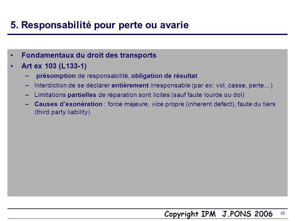 Copyright IPM J.PONS 2006 44 5. Mentions sur le titre de transport Fondamentaux du droit des transports Article ex 102 C de C (L132-9) –Mentions à ins