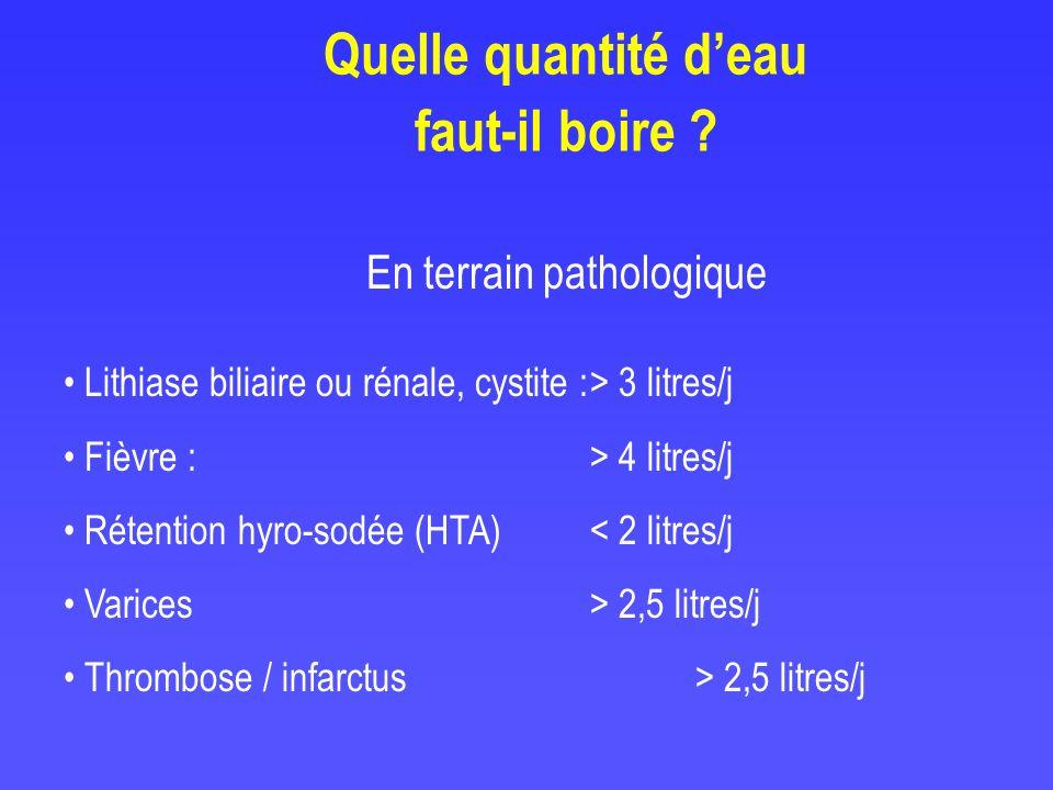 Quelle quantité deau faut-il boire ? En terrain pathologique Lithiase biliaire ou rénale, cystite :> 3 litres/j Fièvre :> 4 litres/j Rétention hyro-so