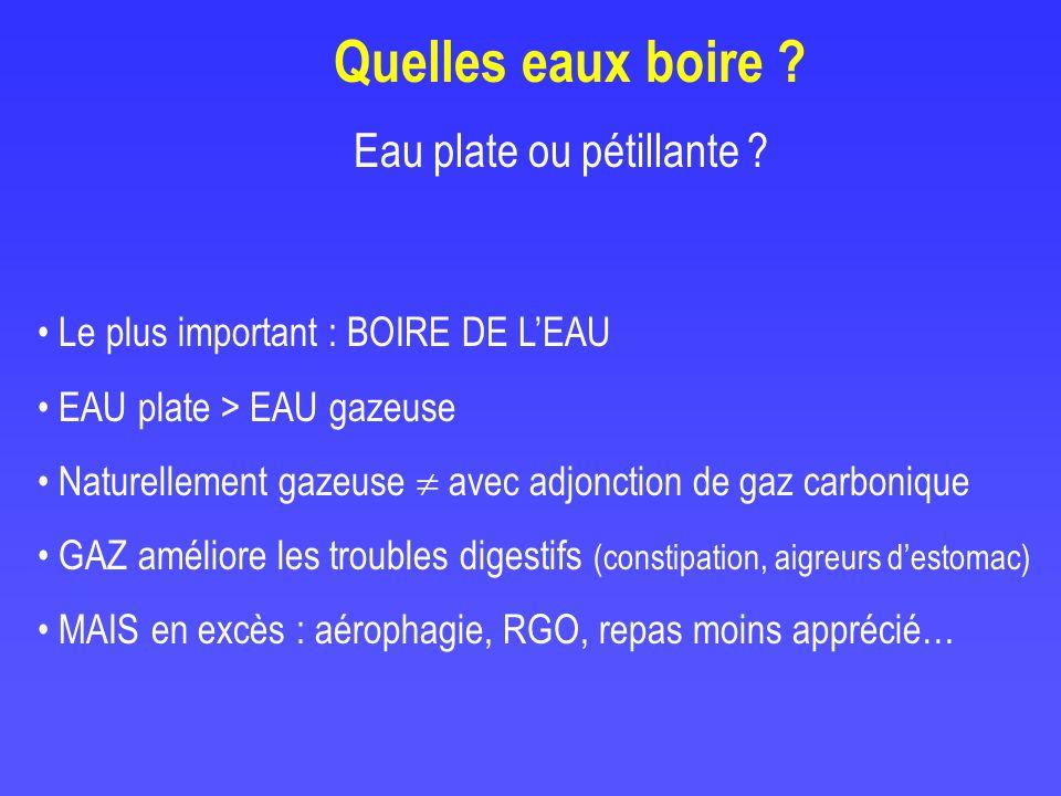 Eau plate ou pétillante ? Le plus important : BOIRE DE LEAU EAU plate > EAU gazeuse Naturellement gazeuse avec adjonction de gaz carbonique GAZ amélio
