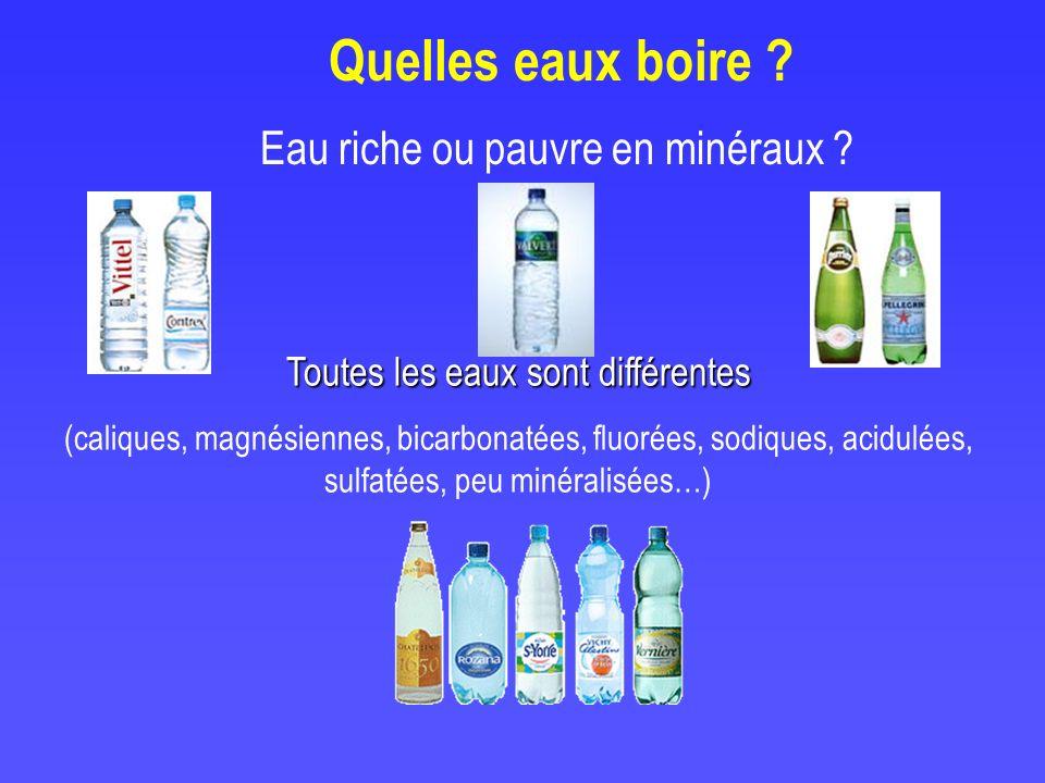 Eau riche ou pauvre en minéraux ? Toutes les eaux sont différentes (caliques, magnésiennes, bicarbonatées, fluorées, sodiques, acidulées, sulfatées, p