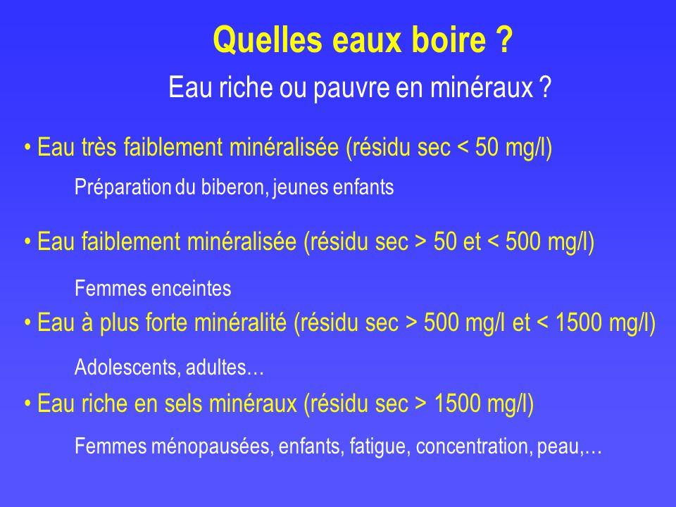 Eau riche ou pauvre en minéraux ? Eau très faiblement minéralisée (résidu sec < 50 mg/l) Eau faiblement minéralisée (résidu sec > 50 et < 500 mg/l) Ea