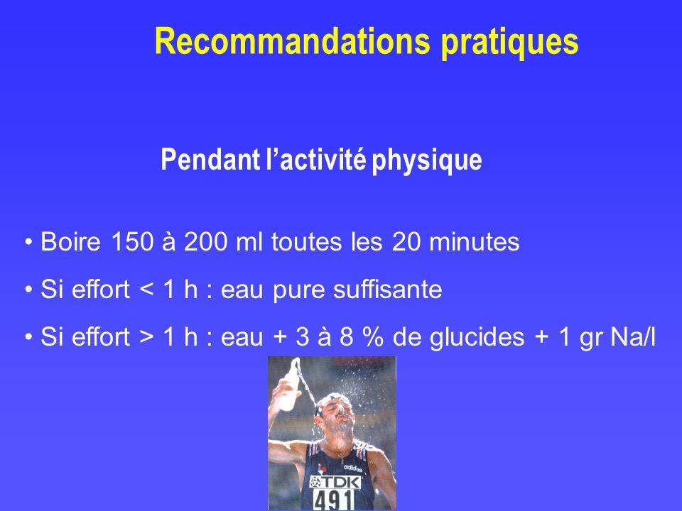 Pendant lactivité physique Recommandations pratiques Boire 150 à 200 ml toutes les 20 minutes Si effort < 1 h : eau pure suffisante Si effort > 1 h :