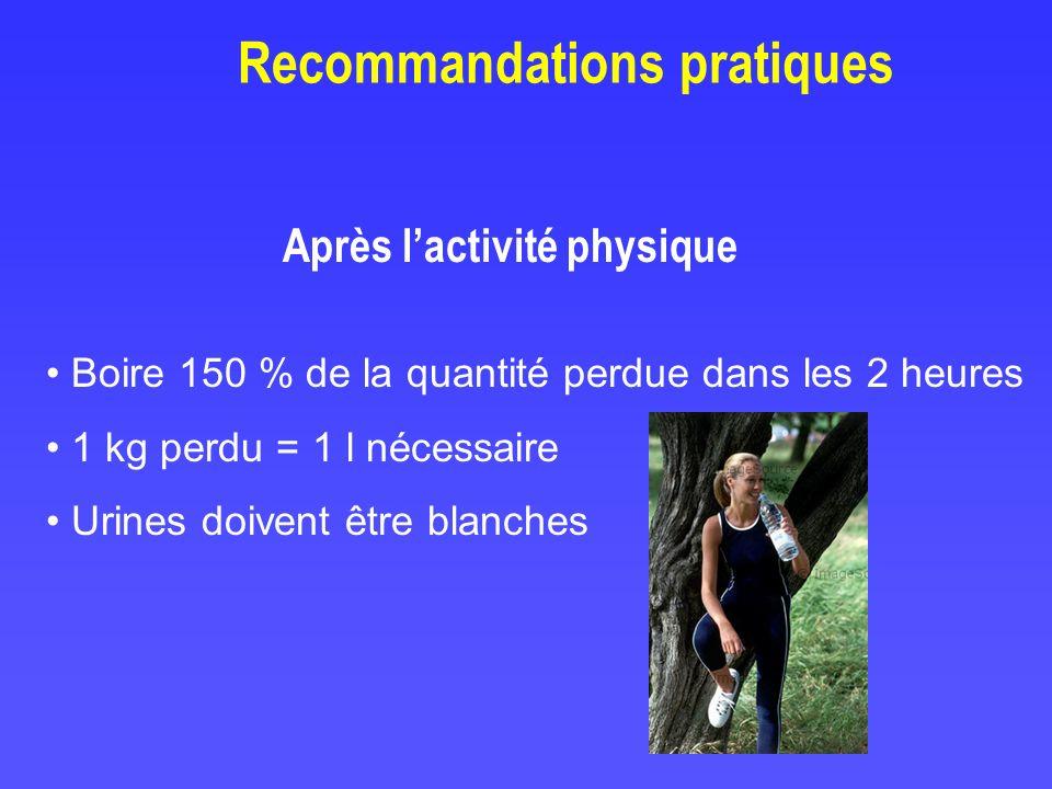 Après lactivité physique Boire 150 % de la quantité perdue dans les 2 heures 1 kg perdu = 1 l nécessaire Urines doivent être blanches Recommandations