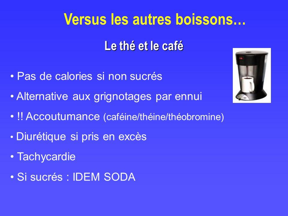Versus les autres boissons… Le thé et le café Pas de calories si non sucrés Alternative aux grignotages par ennui !! Accoutumance (caféine/théine/théo