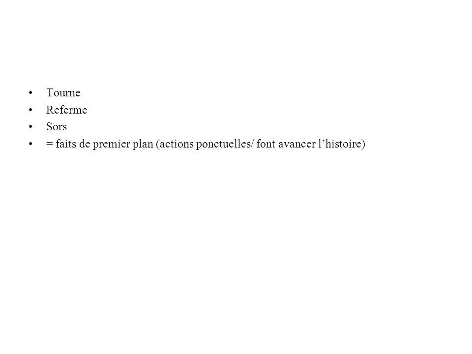 Tourne Referme Sors = faits de premier plan (actions ponctuelles/ font avancer lhistoire)