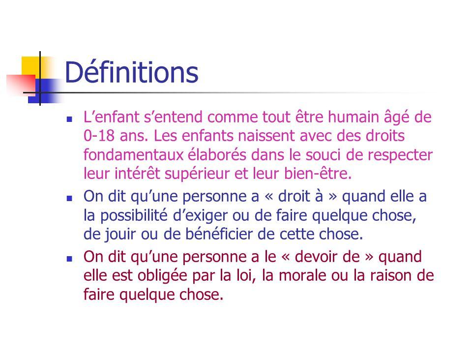 Définitions Lenfant sentend comme tout être humain âgé de 0-18 ans.