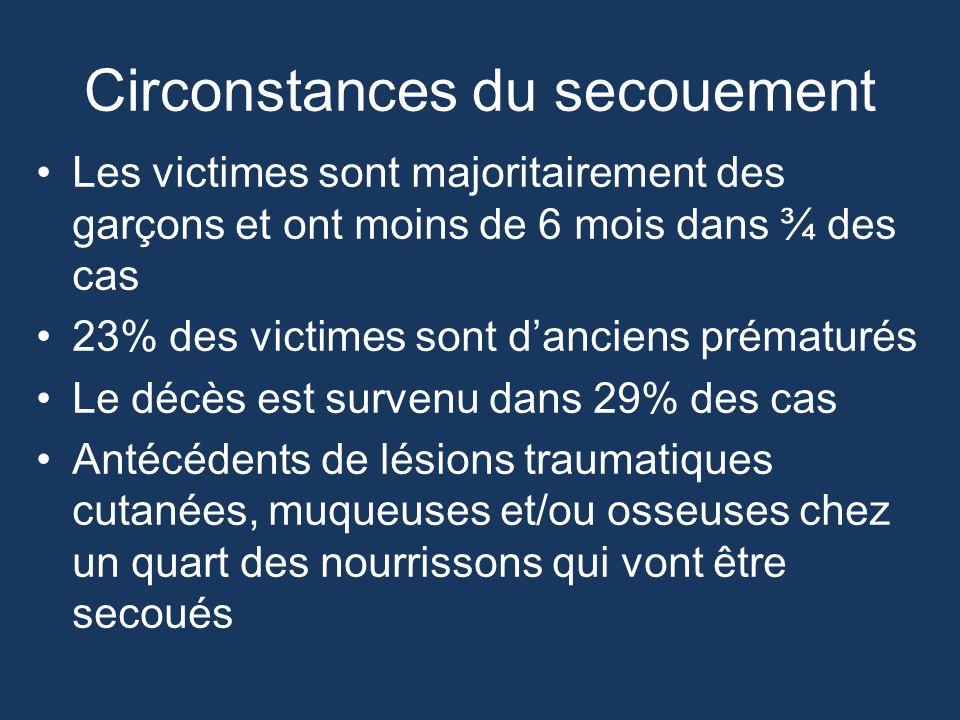 Circonstances du secouement Les victimes sont majoritairement des garçons et ont moins de 6 mois dans ¾ des cas 23% des victimes sont danciens prématu