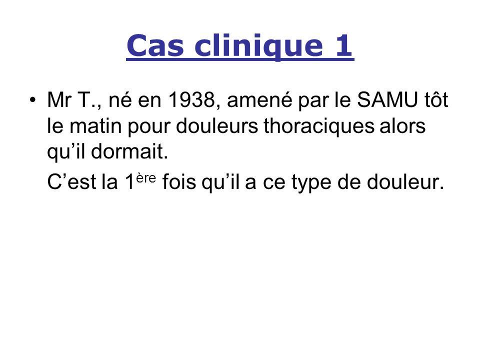 Cas clinique 1 Mr T., né en 1938, amené par le SAMU tôt le matin pour douleurs thoraciques alors quil dormait. Cest la 1 ère fois quil a ce type de do