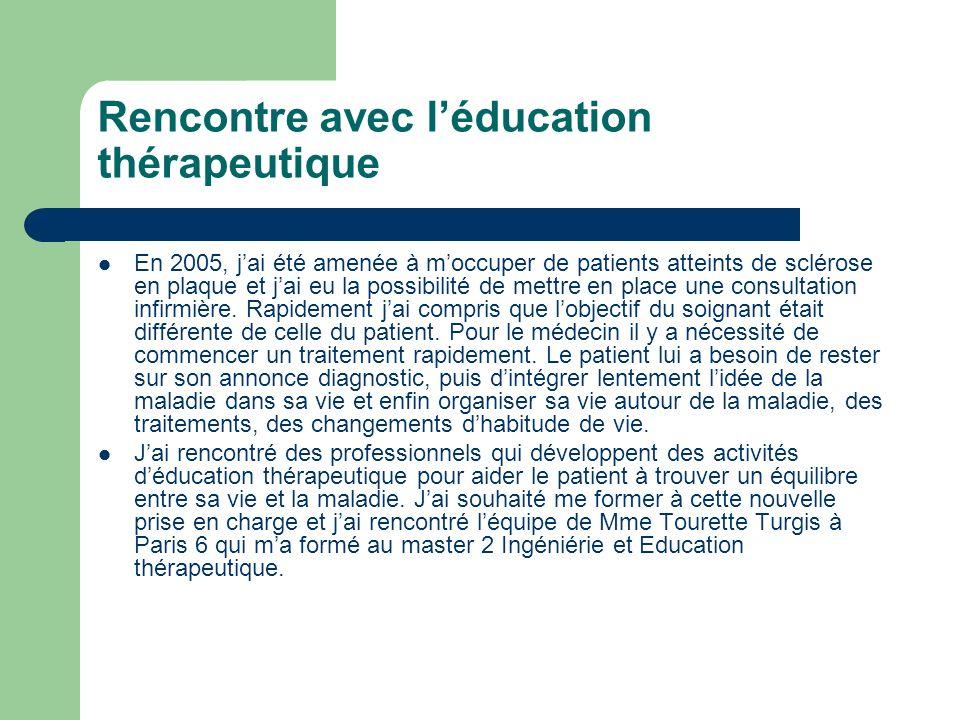 Rencontre avec léducation thérapeutique En 2005, jai été amenée à moccuper de patients atteints de sclérose en plaque et jai eu la possibilité de mett