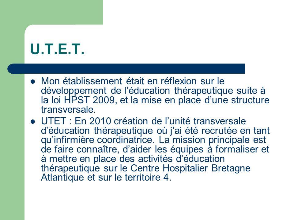 U.T.E.T. Mon établissement était en réflexion sur le développement de léducation thérapeutique suite à la loi HPST 2009, et la mise en place dune stru