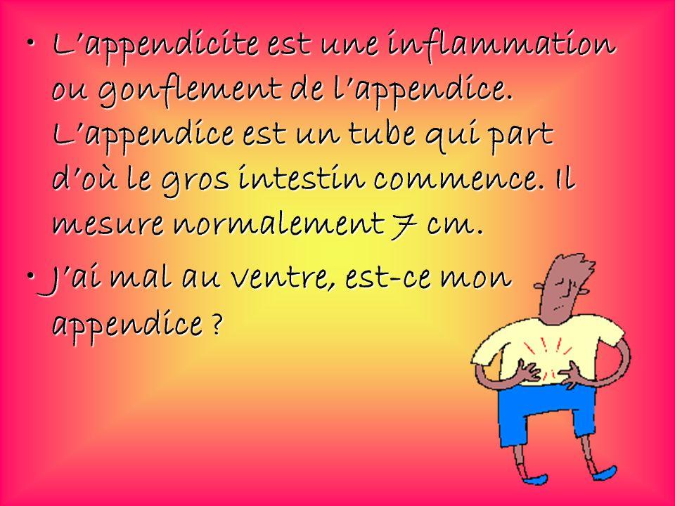 Lappendicite est une inflammation ou gonflement de lappendice. Lappendice est un tube qui part doù le gros intestin commence. Il mesure normalement 7