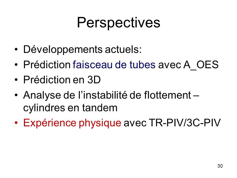 30 Perspectives Développements actuels: Prédiction faisceau de tubes avec A_OES Prédiction en 3D Analyse de linstabilité de flottement – cylindres en
