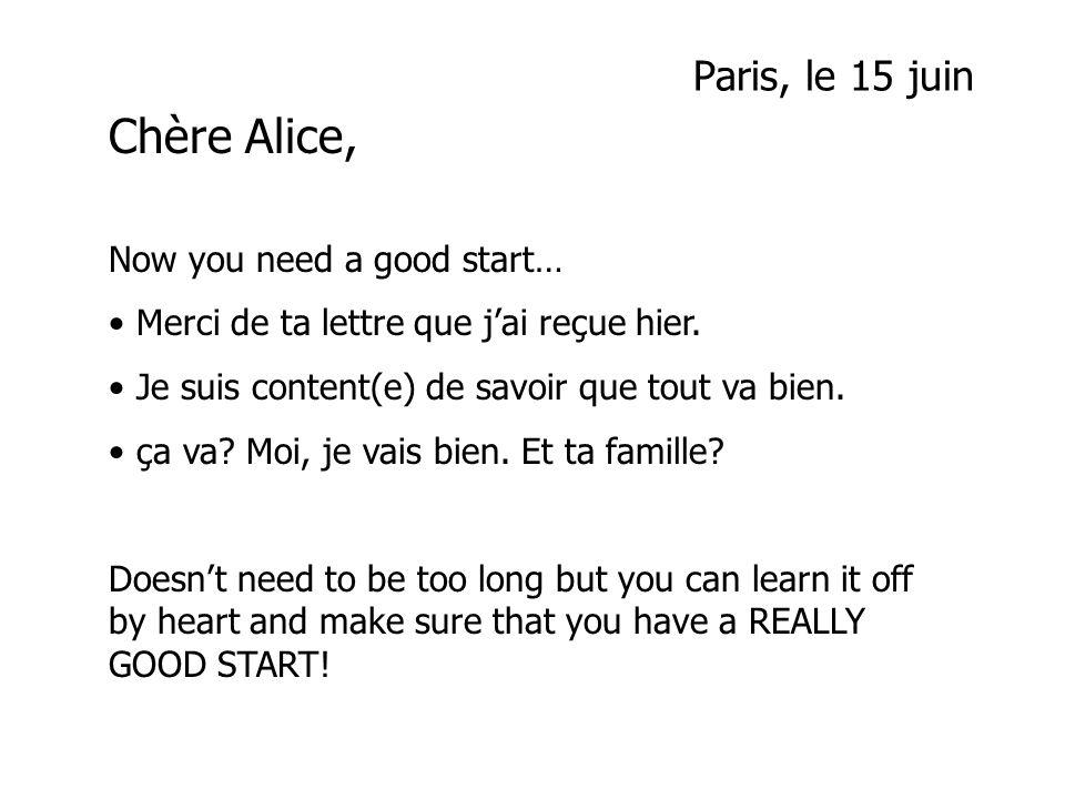 Paris, le 15 juin Chère Alice Merci de ta lettre que jai reçue hier.