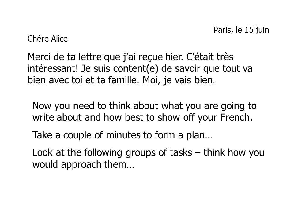 Paris, le 15 juin Chère Alice Merci de ta lettre que jai reçue hier. Cétait très intéressant! Je suis content(e) de savoir que tout va bien avec toi e