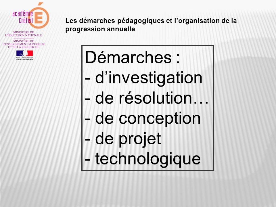 Démarches : - dinvestigation - de résolution… - de conception - de projet - technologique Les démarches pédagogiques et lorganisation de la progressio