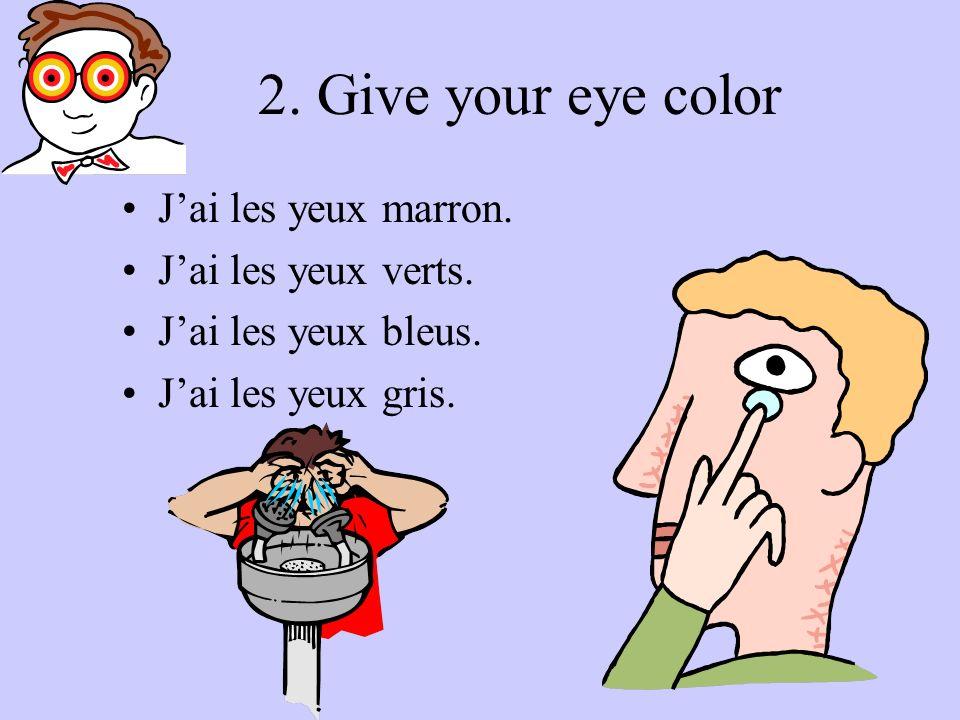 1. Give hair color with 1 other description… Jai les cheveux bruns …blonds …noirs …roux …châtains … châtains clairs …châtains foncés courts frisés bou