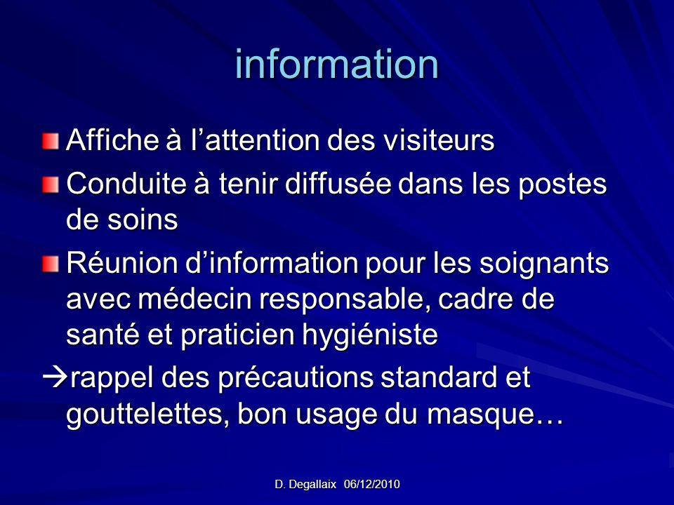 D. Degallaix 06/12/2010 information Affiche à lattention des visiteurs Conduite à tenir diffusée dans les postes de soins Réunion dinformation pour le